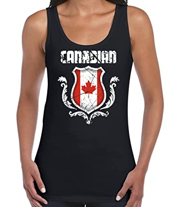 AW Fashions Canadian - Love for The Country Womens Tank Top (Small, Black)