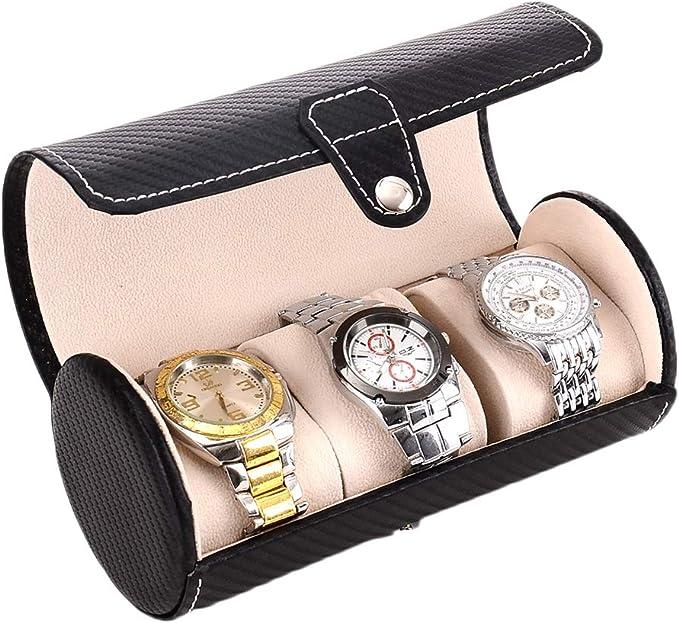 3 Ranuras Caja para Relojes con Funda De Piel Sintética Estuche Cilíndrico para Caja para Relojes Caja Joyero Organizador De Joyas: Amazon.es: Equipaje