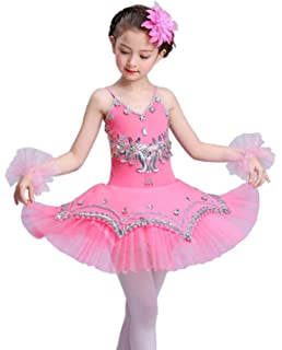 ranrann Kids Girls Christmas Dance Costume Sequins Spaghetti Shoulder Straps Ballet Dance Leotard Dress with Hat Arm Sleeves
