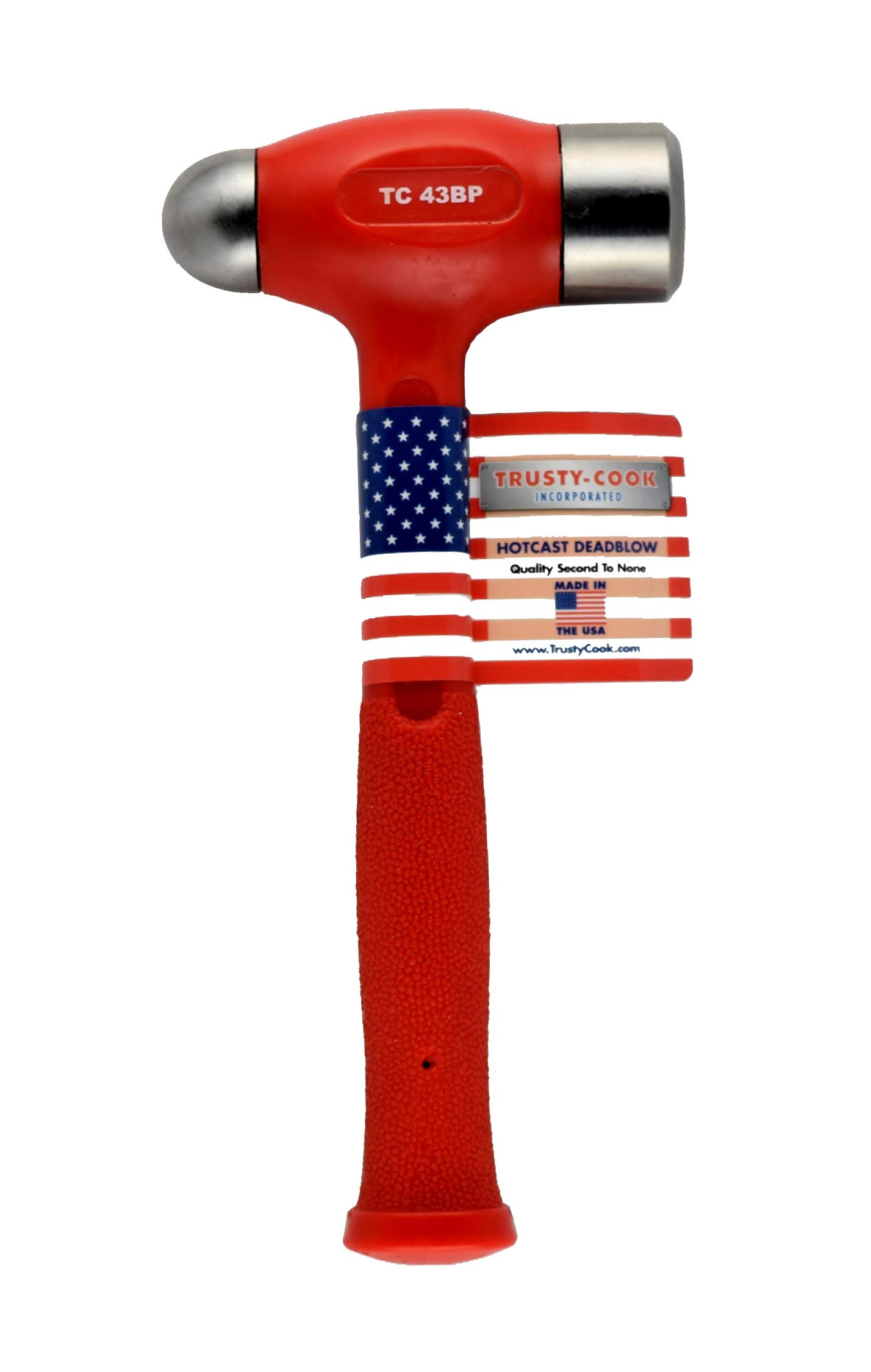 Trusty-Cook Ball Peen Dead Blow Hammer (43oz, Red) by Trusty-Cook