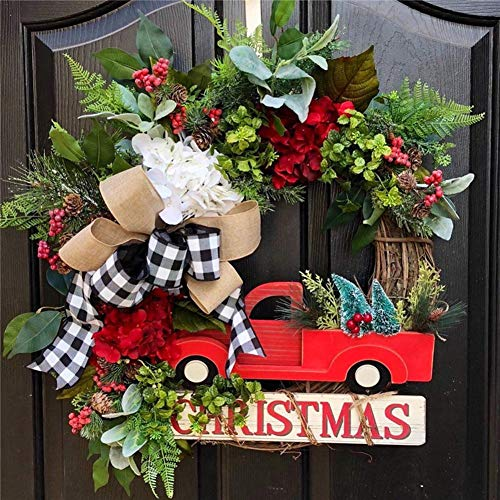 Vintage Christmas Wreath Decoration With Red Truck
