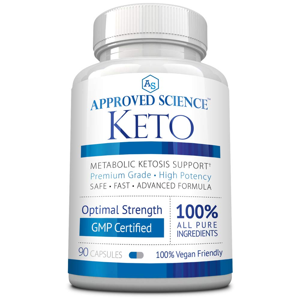 Approved Science® Keto: Pure Exogenous 4 Ketone Salts (Calcium, Sodium, Magnesium and Potassium) and MCT Oil to Boost Ketosis. 1 Bottle by Approved Science