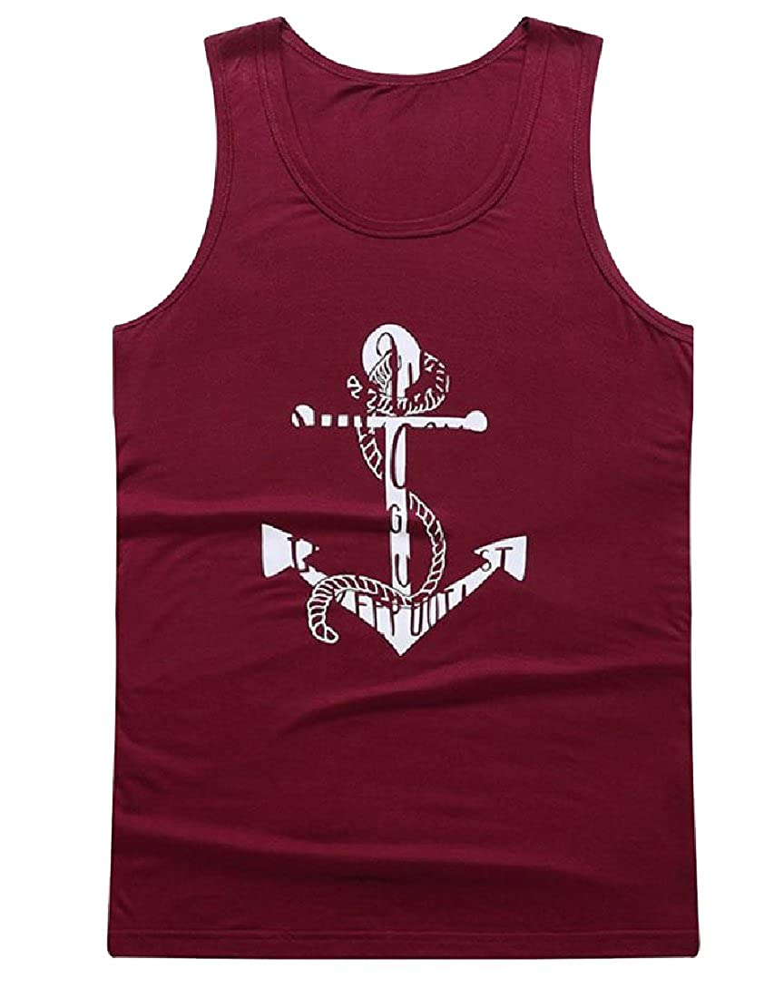 Yusky Mens Graphic Print Summer Daily Wicking Plus-Size Vest Top