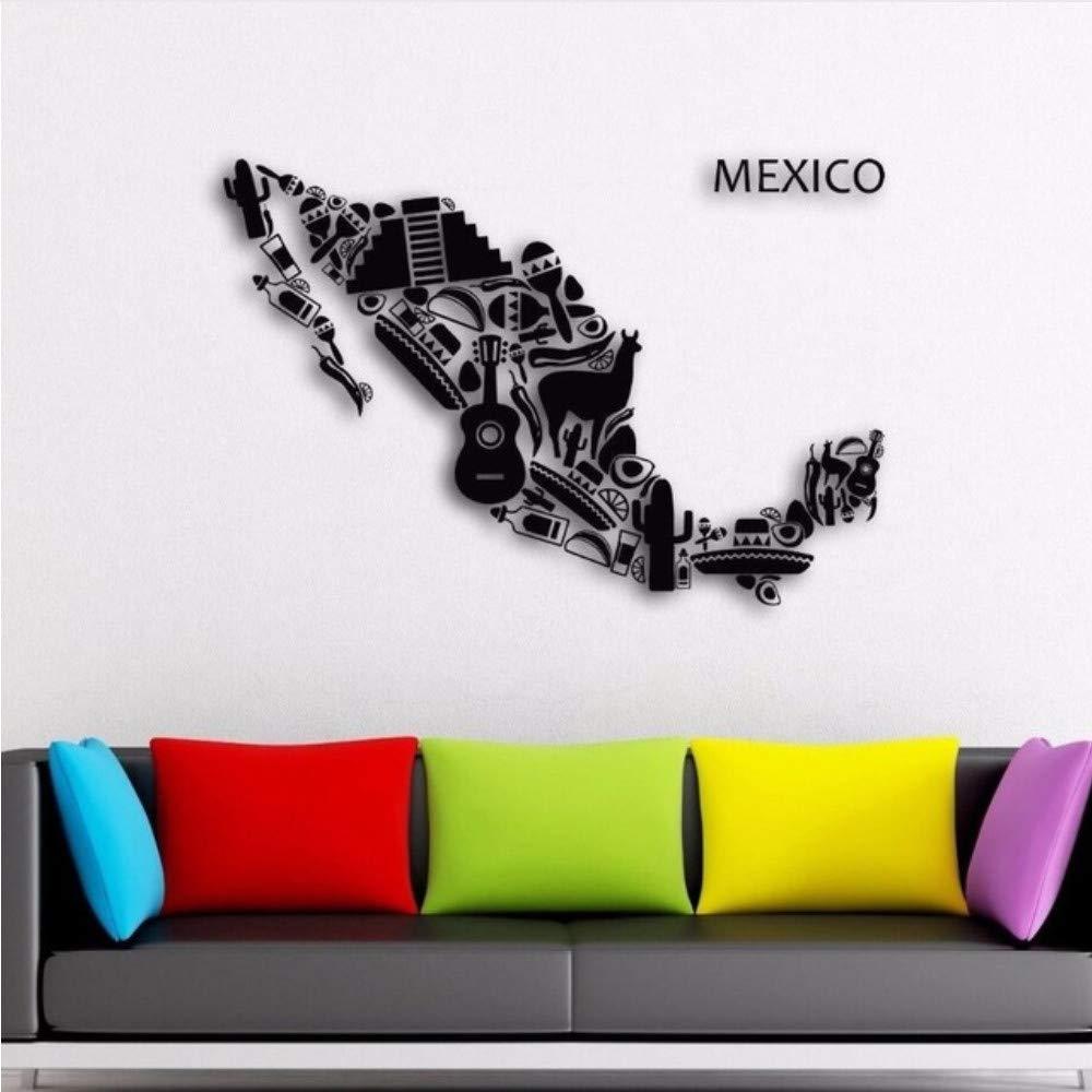 Meaosy Pegatinas De Pared México Mapa Vinilo Tatuajes De Pared ...