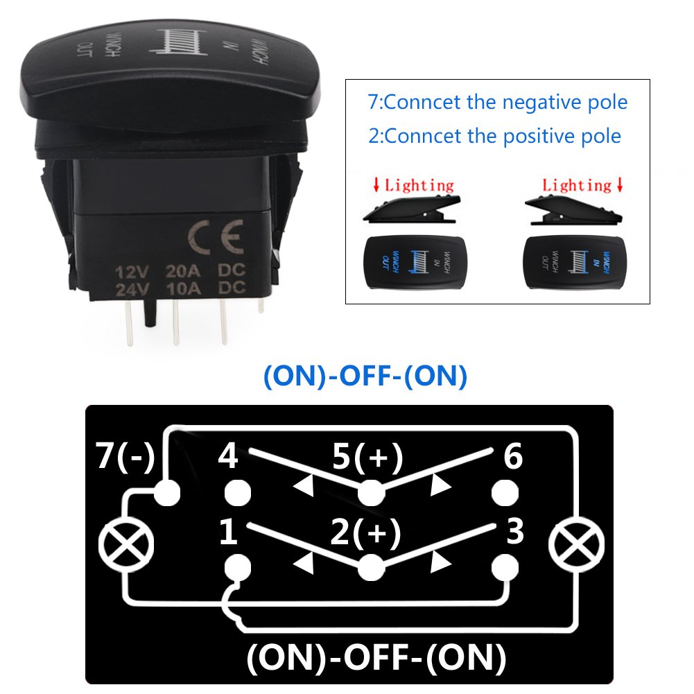Waterwich 5 Pin Rear Lights Illuminated Rocker Toggle Switch 12v Lighted Spst All Electronics Corp Waterproof With Jumper Wires Set Dc 20a 10a
