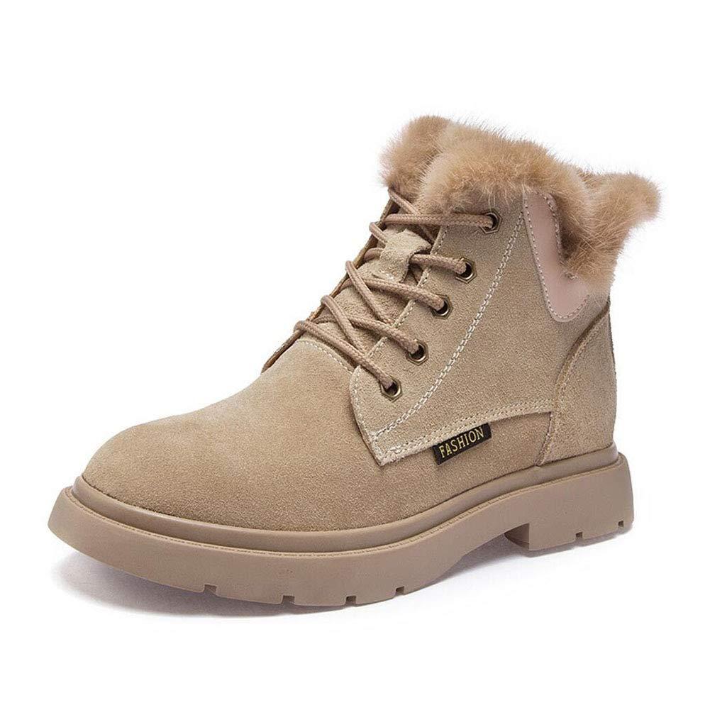 YaXuan Frauen Schnee Stiefel , Martin Stiefel, Herbst Winter warme Schuhe , Damen Flache Stiefeletten Leder Plateauschuhe weibliche Mode Stiefelies (Farbe : EIN, Größe : 40)