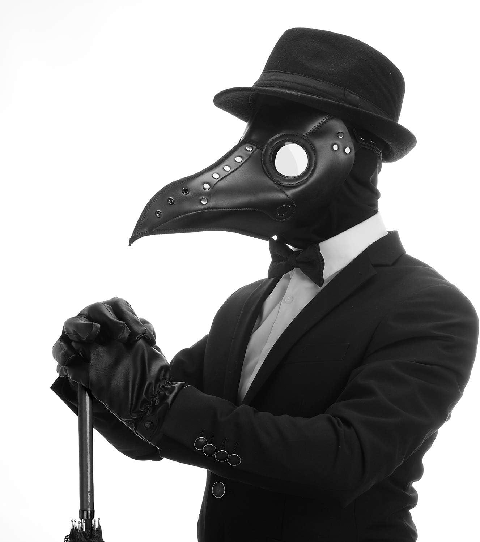 con naso lungo Huemny Maschera da medico in pelle colore: nero