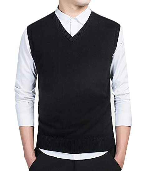 YUNY Mens Slim Fit Knitted V-neck Stylish Solid Color Sweater Vest ...