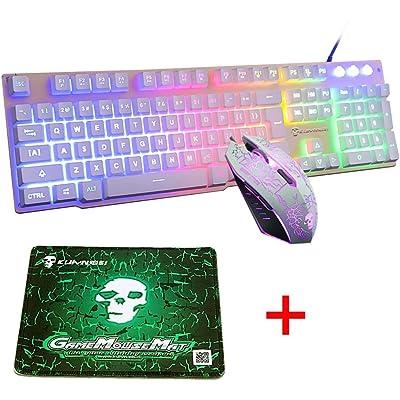 UrChoiceLtd Arco Iris Retroiluminado Ergonómico Teclado De Juego USB + 2400DPI 6 Botones óptico Arco Iris LED USB Ratón De Juego + GRATIS Ratón De Juegos 220 * 180 * 5 mm (Luminous Key, White)