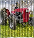 """Funny design old farm tractor antique Shower Curtain 66""""(w) x 72""""(h) Generic Shower Curtain Liners"""