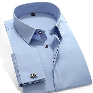 c50efd2f6f1 sweattang New Mens Formal Italian Designer Cufflinks French Cuff Dress  Shirts (Blue