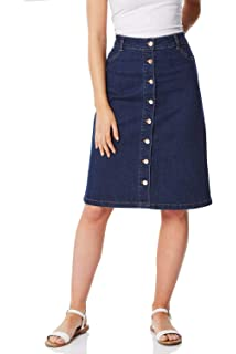63bf441e08 Roman Originals Women Button Through Denim Skirt - Ladies 98% Cotton Knee  Length Work…