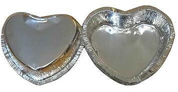 24 Moldes contenedores de alimentos en aluminio para gelatinas, pasteles en forma de corazón