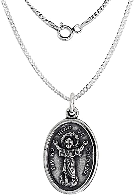 Sterling Silver Divino Nino De Colombia Oval-shaped Medal Pendant Charm