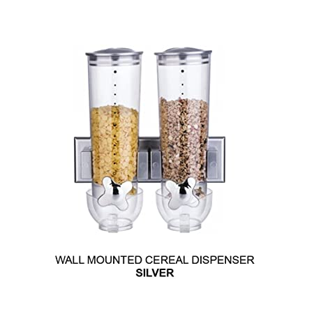 Doubletriple wall mounted cereal dispenser dry food storage doubletriple wall mounted cereal dispenser dry food storage container double silver x 1 ccuart Image collections