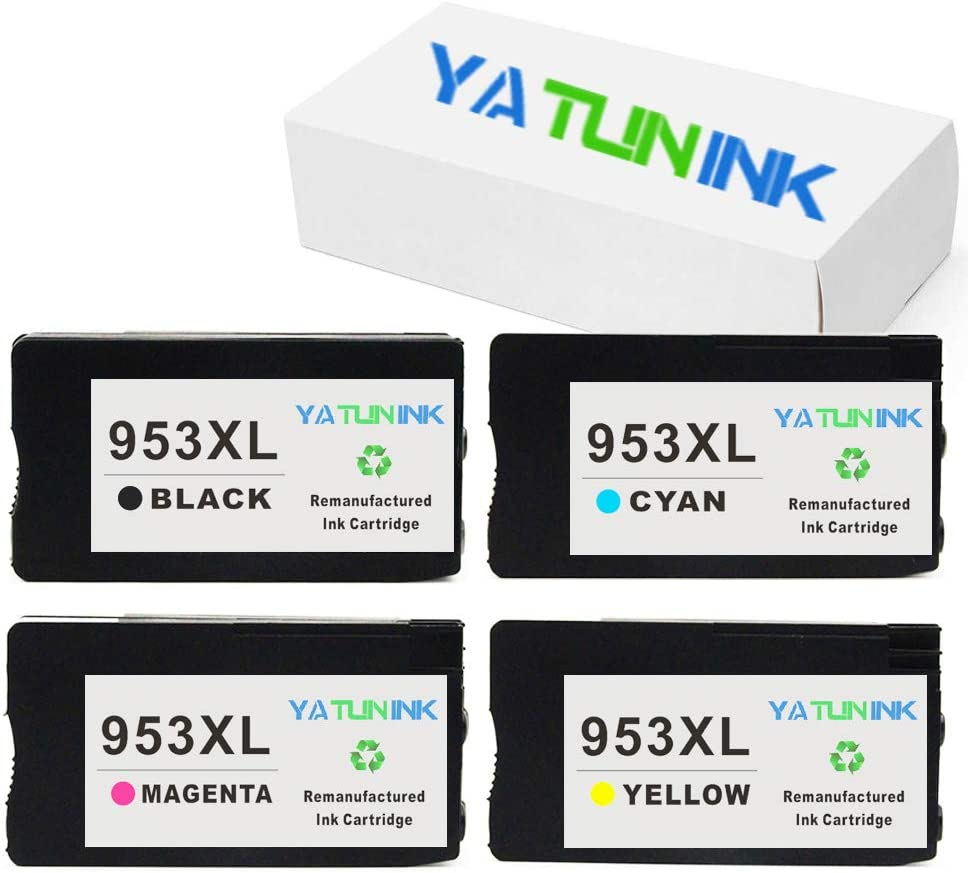 YATUNINK Remanufactured Ink Cartridge Replacement for HP 953XL Ink Cartridge Fit Officejet Pro 7740 Officejet 8210 Officejet 8715 Officejet 8730 Officejet 8710 Officejet 8715 Printers (4 Pack)