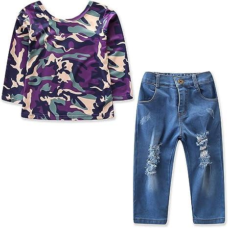 Traje de moda para niñas y niños Camisa de camuflaje de manga larga Top + Hole Pantalones Trajes 2pcs / set (Size : 90): Amazon.es: Bebé