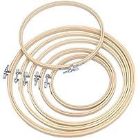 """WOWOSS 6Pcs Cercle à Broder Anneau de Broderie Bambou Cross Stitch Hoop Set Réglable Cercle de Broderie Set pour DIY Arts, Artisanat (5""""6"""" 6.7""""8"""" 9""""10"""")"""