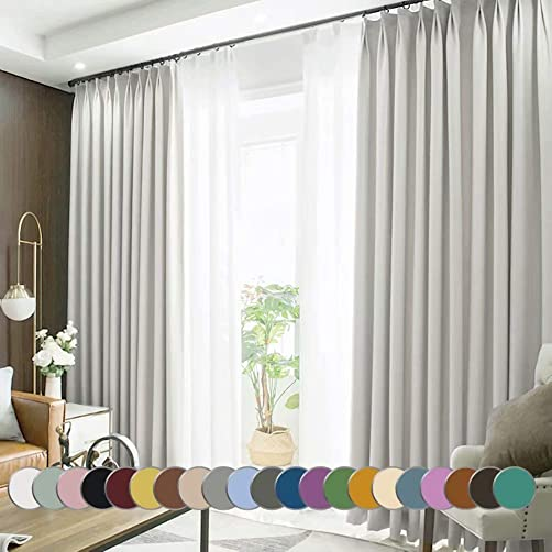 MacoHome White Full Blackout Grommet Curtain Panel Extra Long and Wide Thermal Insulated Window Treatment Off White