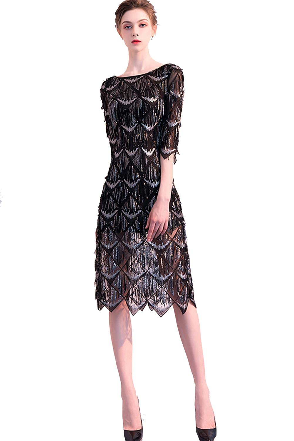 e98b63a22e7e Womens Sequin Short Evening Gown with Sleeves Mother of The Bride Dresses  2019 at Amazon Women's Clothing store: