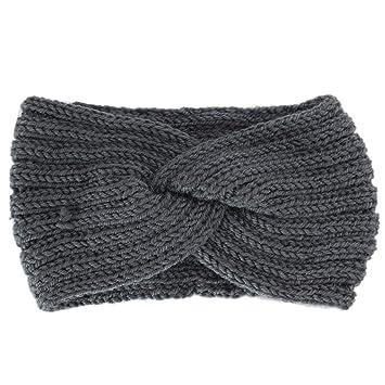 TeemorShop 22x12cm Women Girls Winter Thicken Knitted Crochet Wide Headband  Solid Twist Cross Knotted Hairband Sport 553804e458d0