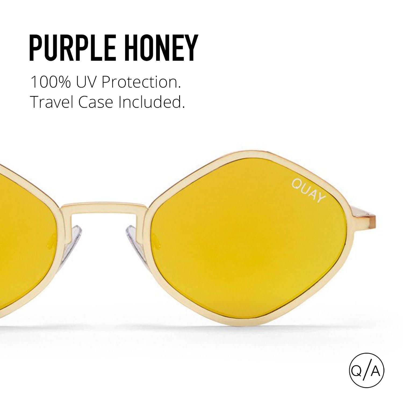 53cd43c7eee38 Amazon.com  Quay Australia PURPLE HONEY Women s Sunglasses Exotic Sunnies -  Gold  Quay  Clothing