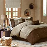 Biggest King Size Comforter Madison Park Boone King Size Bed Comforter Set Bed in A Bag - Brown, Textured Print - 7 Pieces Bedding Sets - Micro Suede Bedroom Comforters