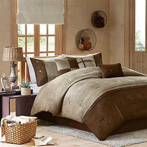 Madison Park Boone Cal King Size Bed Comforter Set Bed in A Bag - Brown, Textured Print – 7 Pieces Bedding Sets – Micro Suede Bedroom Comforters - Contemporary King Bedroom California Set