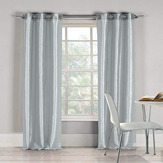 Duck River Textiles Bali Faux Silk Grommet Top Window Curtain Drapes For Bedroom, Livingroom, Kids Room, Children, Nursery – Assorted Colors – Set of 2 Panels, 38 W x 84 L, Platinum