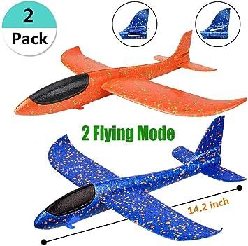 REAMOUS 2 Pcs Plane Glider Avión Lanzar Espuma Aviones Deportes Al Aire Libre Volar Juguete, Glider para Los Cabritos, Favores de La Fiesta: Amazon.es: Juguetes y juegos