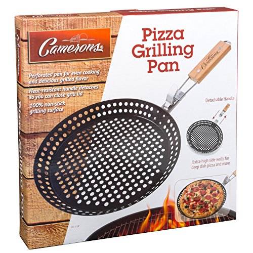 Pizza Grill Pan (12'') w Removable Handle - Non-Stick w Extra High Walls - Great for Grilling Vegetables, Seafood, Shish Kebab by Camerons Products (Image #1)