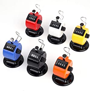 Tebery 6 Pack Desk Tally Counter 4 Digit Mechanical Palm Click Counter Count Clicker Assorted Color Hand Held Counter Clicker