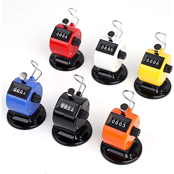 Qtopun Metal Case Digit Hand Tally Counters 2 Pack Handheld Clicker Counter and 2 Pack Metal Base Counter with 4 Lanyards-4 Pack