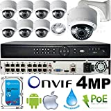 USG Business Grade 4MP 8 Camera HD Security System : Ultra 4K 16 Channel Security NVR + 8x 4MP 2592x1520 2.8-12mm PoE IP Dome Cameras with Bracket & Deep Base + 1x 4TB HDD : Apple Android Phone App