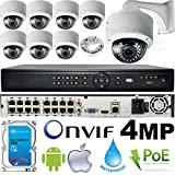 Cheap USG Business Grade 4MP 8 Camera HD Security System : Ultra 4K 16 Channel Security NVR + 8X 4MP 2592×1520 2.8-12mm PoE IP Dome Cameras with Bracket & Deep Base + 1x 4TB HDD : Phone App