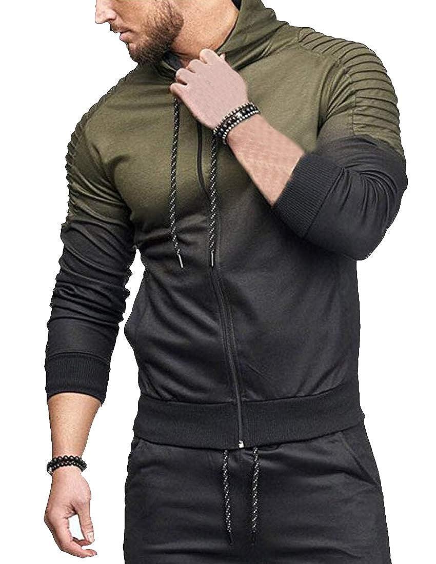 Hajotrawa Mens Hooded Sports Ombre Color Drawstring Stylish Coat Jacket Sweatshirts