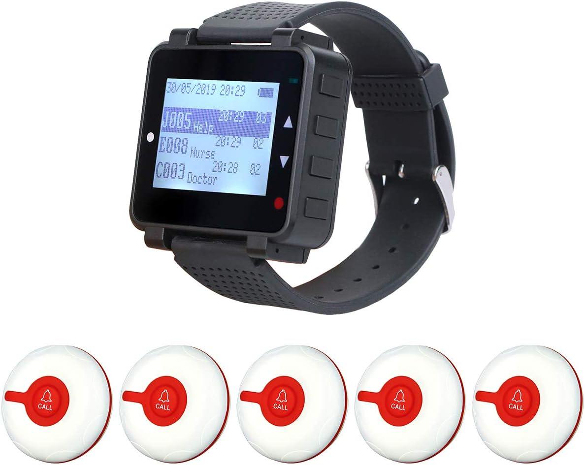 Retekess T128 Caregiver Pager,Nurse Calling System,Sound Alert,Help Button,1 PC Watch Pager,5 PCS TD009 Call Buttons for Elderly,Patient,Disable