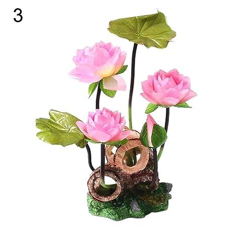 WFZ17 - Flor de loto artificial con barril para decoración de acuario