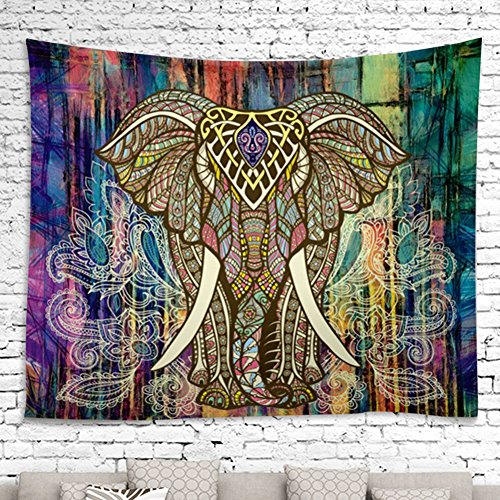 YAMUDA Square Elephant Tapestry Wall Hanging Decor Indian Home Hippie Bohemian Tapestry - 57x57 inches (Square Wall Hanging)