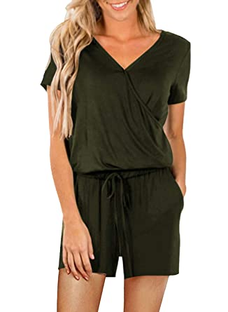 4df72d8e44 Amazon.com  Dearlove Womens Casual V Neck Wide Legs Long Pant Jumpsuits  Rompers with Pockets  Clothing