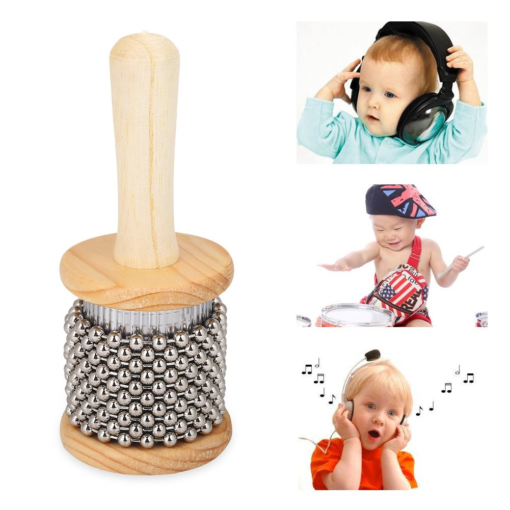 Kids Wooden Cabasa, Percussion Musical Instrument Metal Beaded Chain & Cylinder Pop Hand Shaker Hand Shaker Percussion Instrument for Classroom Band/Music
