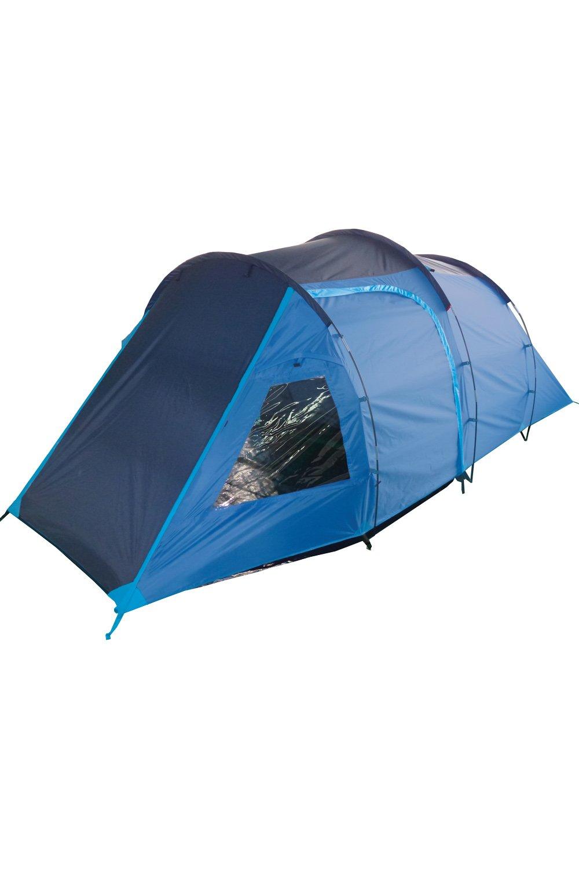 Mountain Warehouse Mini Break 4-Personen-Zelt - wasserabweisend, Familienzelt mit eingenähtem Zeltboden, atmungsaktives Schlafzelt mit Tür, Dachschlitz, Glasfaserstangen