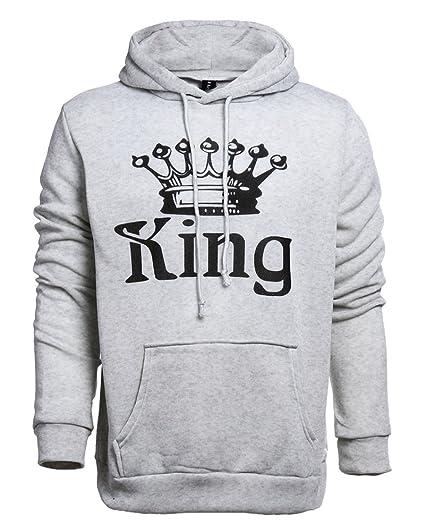 Tomwell Hombre Y Mujer Moda King Queen Impresión Sudaderas con Capucha Manga Larga Pullover Camisas Jersey Hoodies Parejas Tops D King Gris Claro EU L: ...