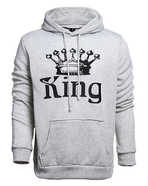 Tomwell Hombre Y Mujer Moda King Queen Impresión Sudaderas con Capucha Manga Larga Pullover Camisas Jersey Hoodies Parejas Tops D King Gris Claro EU XL: ...