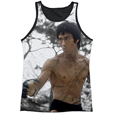 d6675ba792693e Bruce Lee Martial Arts Icon Fight Stance Adult Black Back Tank Top Shirt   Amazon.co.uk  Clothing
