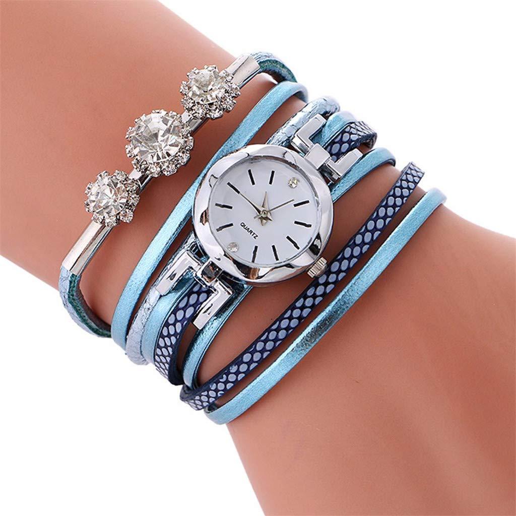 FRCOLT Bracelet Girls Diamond Circle Watch Student Fashion Tables Dpoble (one Size, Light Blue)