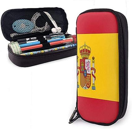 Bandera de España Estuche de lápices de cuero Compartimento impermeable Bolsa de maquillaje cosmético Bolsa de papelería impresa en dos lados de gran capacidad con cremallera lisa: Amazon.es: Oficina y papelería