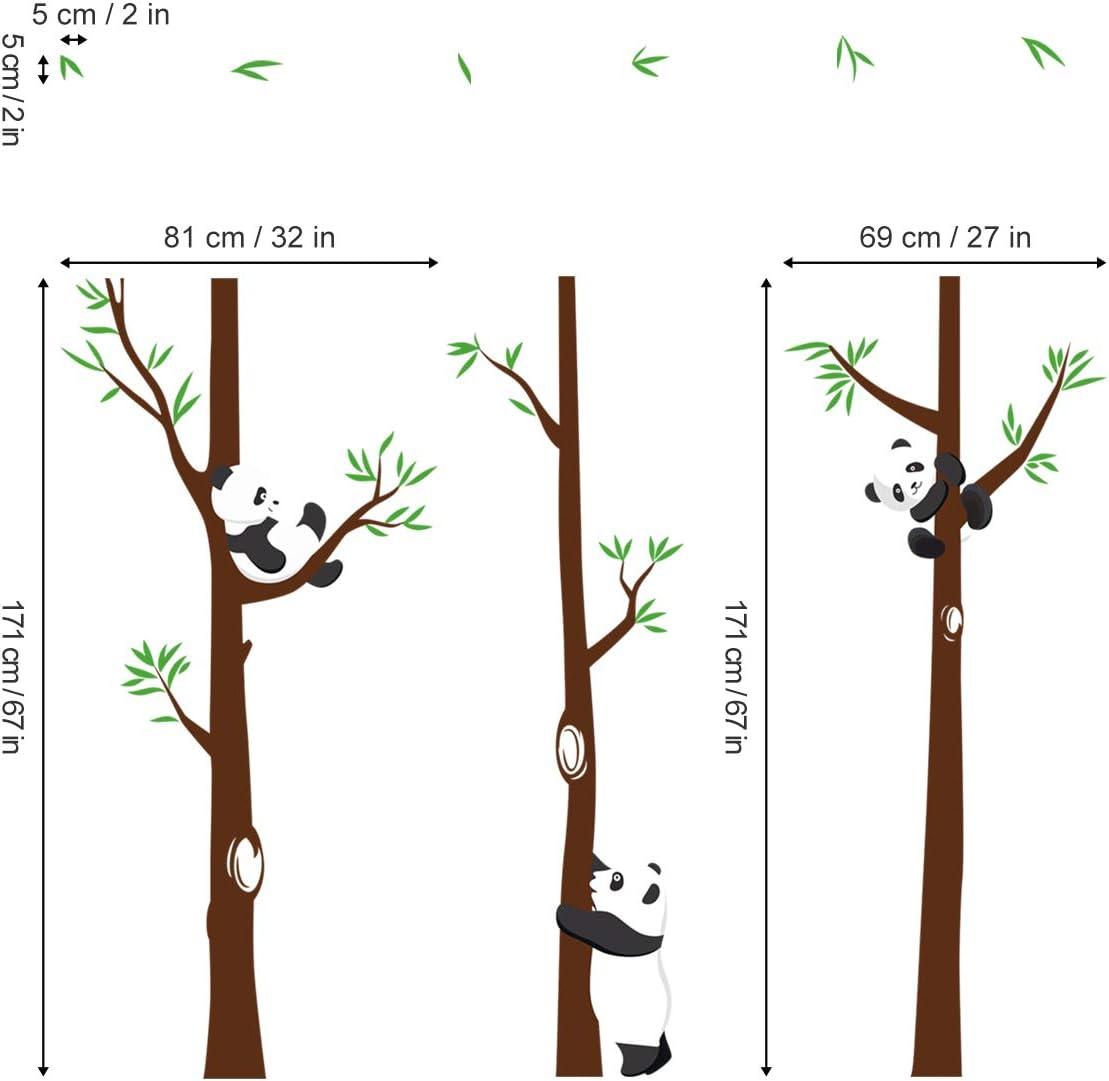 decalmile Stickers Muraux Panda et Arbre Autocollant Mural Chambre Enfants D/écoration Murale Chambre B/éb/é P/épini/ère Salle de Jeux H:171cm