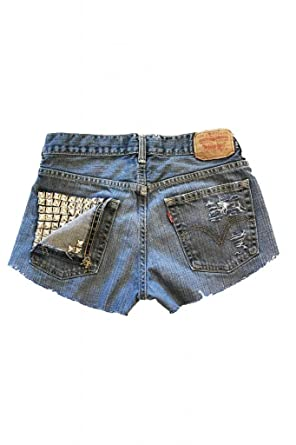 Studded Vintage Levi's High Waisted Jean Shorts Destroyed Ripped ...