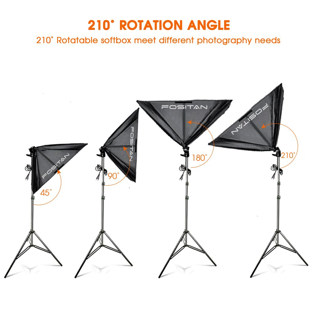 FOSITAN 50X70cm//20X28 Softbox Studio Lights 1600W 5500K Continuous Lighting Kit with 4x E27 CFL Bulbs and 2M Light Stand for Photo Shooting Video Portrait
